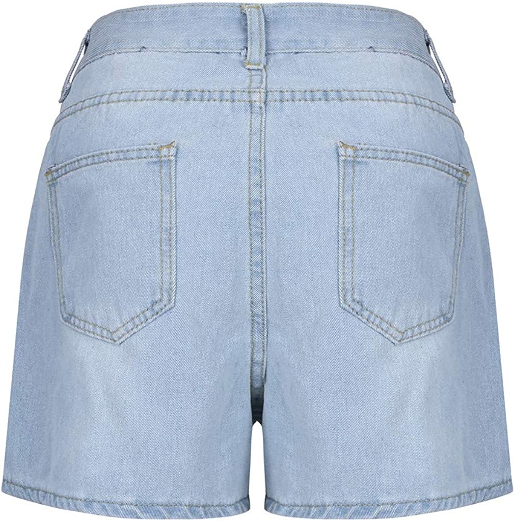 Denim Shorts for Women,Kcocoo High Waisted Stretch Summer Jean Shorts Comfy Frayed Raw Beach Holiday Hot Shorts with Pockets