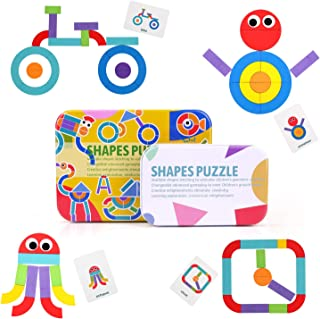 Wooden Jigsaw Puzzle, BBLIKE 36 Pcs Wooden Puzzles + 2 Pcs Plastic Eyes + 50 Pcs Image Cards Kids Puzzle Set Educational Toys for Aged 3+ Years Old Boys and Girls