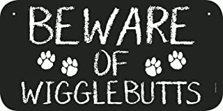 SmithStar Prints Beware of Wigglebutts Metal Sign, Black and White – Decorative and Funny Sign, Indoor and Outdoor Use, 6 x 12 inches