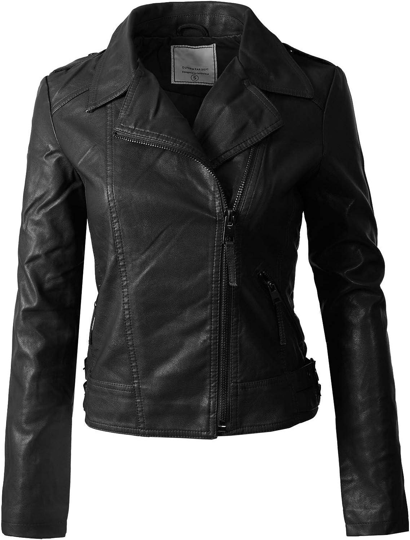 Design by Olivia Women's Long Sleeves Asymmetrical Zipper Closure Biker Faux Leather Jacket