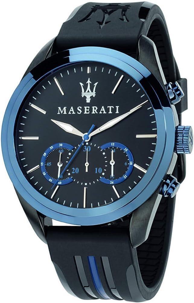 Maserati orologio da uomo, collezione traguardo cronografo, in acciaio e cuoio 8033288702191