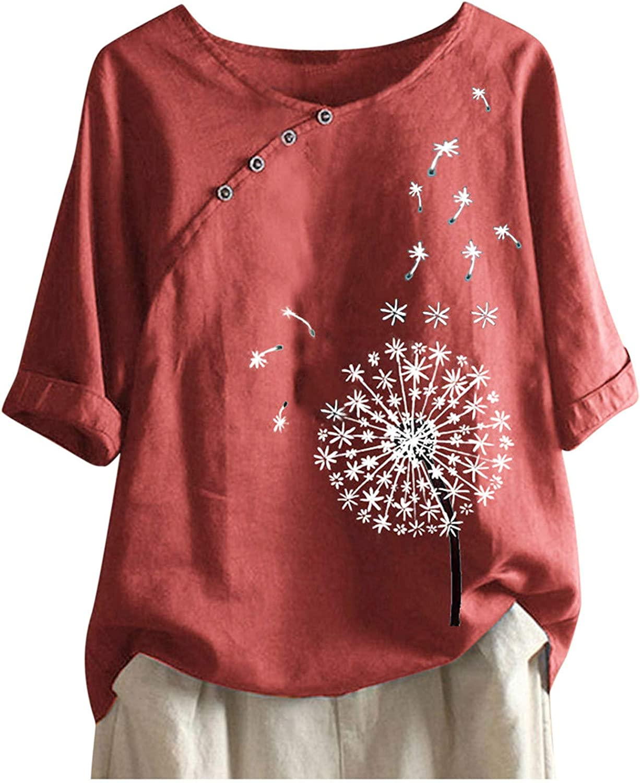 Hotkey Button Down Shirts for Women, O-Neck Half Sleeve T Shirts Dandelion Print Tee Cotton Linen Top Blouse Plus Size, S-5XL