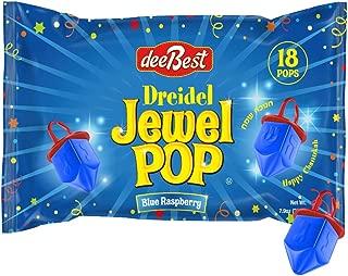 Dee Best Hanukkah Dreidel Jewel Pop Ring Shape Candy - Blue Raspberry 18 Count Individually Wrapped - Great Hanukkah Party Decoration