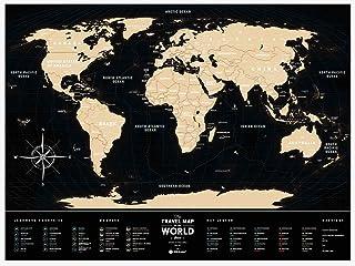Travel Map World (Black) トラベルマップ ワールド ブラック スクラッチ世界地図 プラスチック 旅行 ポスター 60×80cm