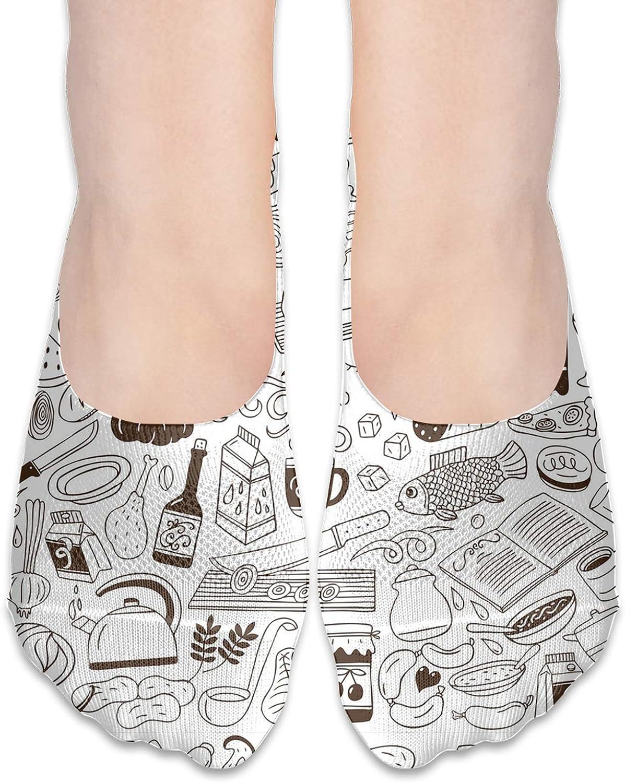 Cookery Doodles Comfortable Boat Socks-Sweat Wicking Non-Slip Socks Leisure Sports Deodorant Foot Socks