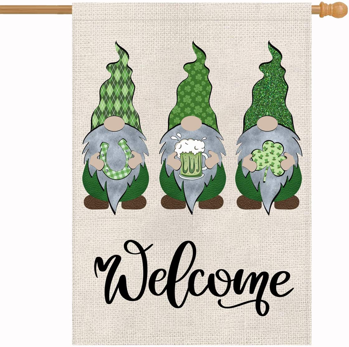Welcome Gnomes St Patricks Day House Flag 28 x 40 Inch Yard Decor Vertical Double Sided Outdoor Decorations Leprechaun Horseshoe Beer Shamrock House Decorative