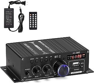 Facmogu AK380 400W+400W Mini Audio Power Amplifier, 2.0 CH Bluetooth 5.0 Receiver Speaker Amp with 12V 5A Power Supply, Ba...