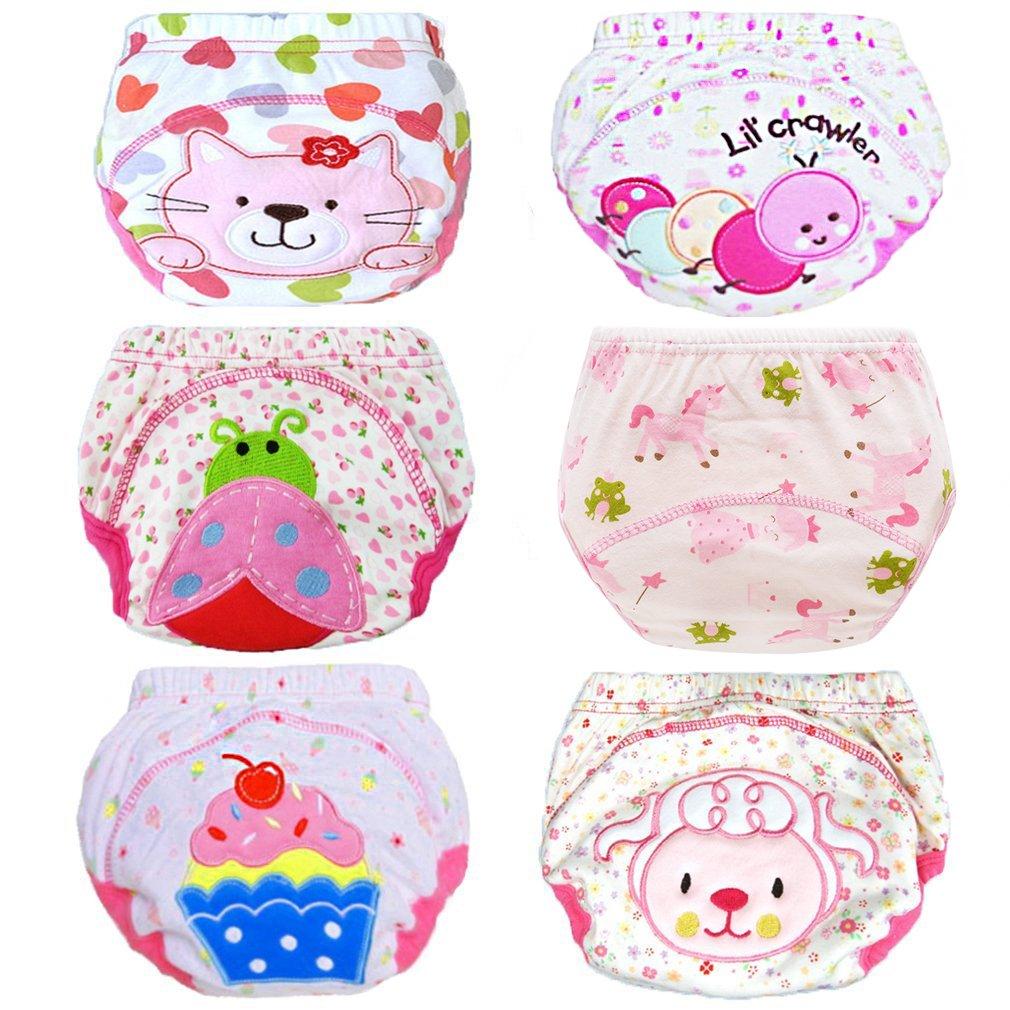 Yealoo 6 Pack Baby Training Pants Toddler Potty Training Underwear Cotton (Girl, 2T)