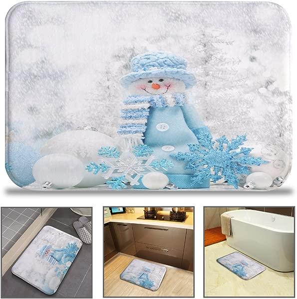 奇艺浴垫地毯超柔软防滑可机洗快干抗菌办公室门垫厨房用餐客厅走廊浴室 16 W X 24 L 40X60 Cm 蓝帽子雪人