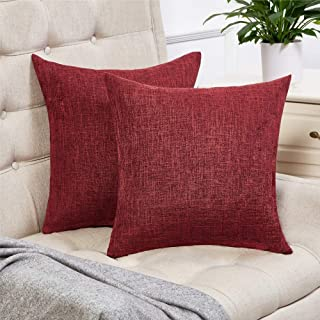 Best Anickal Set of 2 Burgundy Pillow Covers Cotton Linen Decorative Square Throw Pillow Covers 24x24 Inch for Sofa Couch Home Farmhouse Decoration Review
