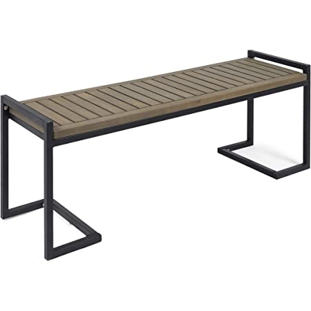 Odelia Outdoor Modern Aluminum Dining Bench with Faux Wood Seat Gray and Silver