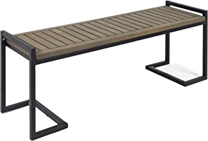 Christopher Knight Home 306427 Noel Outdoor Industrial Acacia Wood and Iron Bench, Gray, Grey Finish/Black Metal