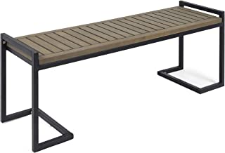Christopher Knight Home 306427 Noel Outdoor Industrial Acacia Wood and Iron Bench, Gray and Black, Grey Finish Metal