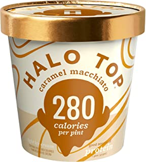 Halo Top Ice Cream Pint, Caramel Macchiato, 16 Ounce (Pack of 8)