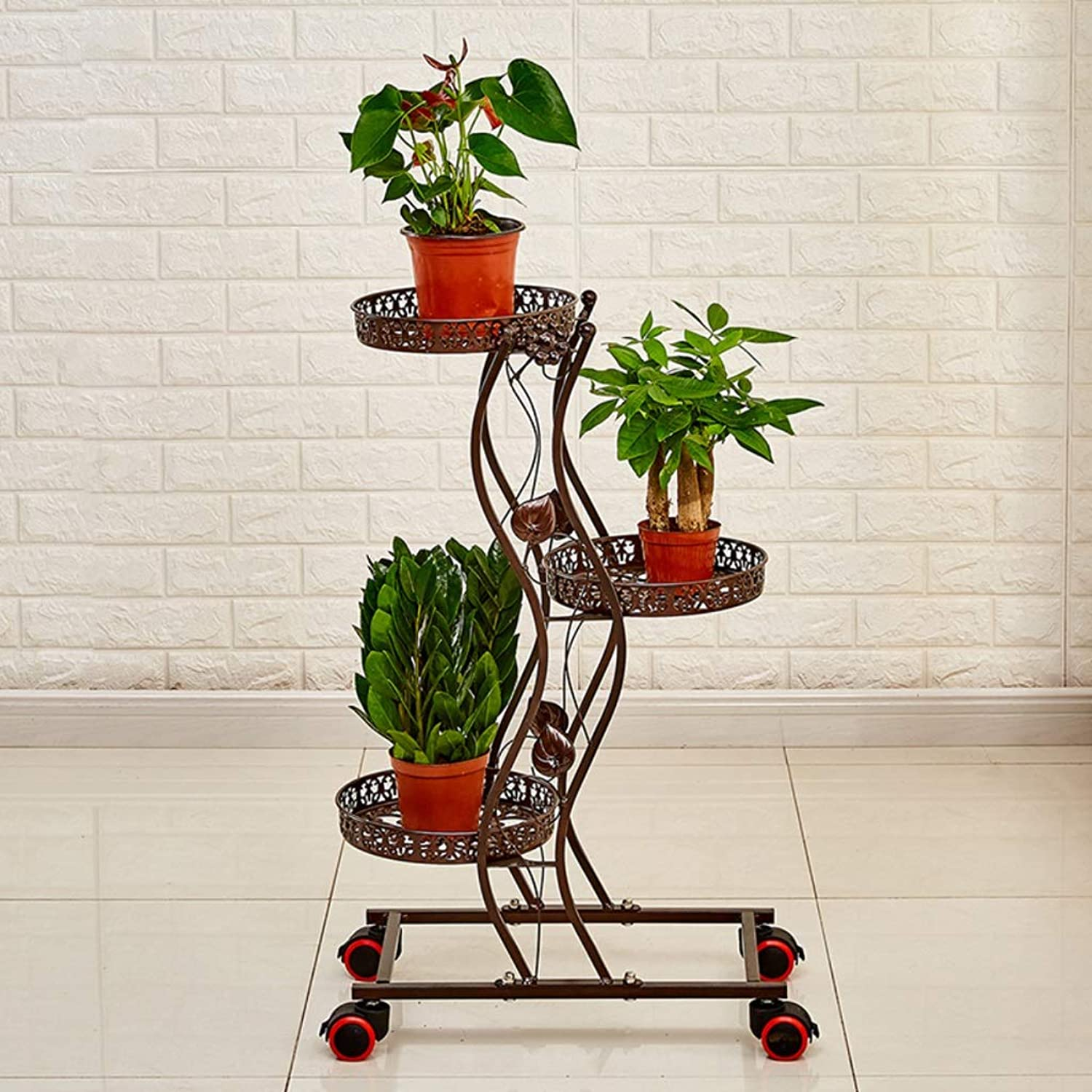 WAN SAN QIAN- Flower Shelf Metal Multi-Layer Indoor and Outdoor Movable Plant Display Stand Floor Flower Pot Rack with Wheels Flower racks (color   Brown, Size   47  27  85cm)