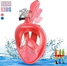 E-MANIS Máscara de Buceo,Plegable Máscara Snorkel 180 °Cara Completa de Panorámico Visión Tecnología Anti-vaho Anti-Fugas Mascara Snorkel Apoyo Camara Deportiva para Niños