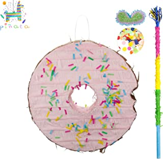 kaimei Pinata Donut for Kids Birthday Anniversary Celebration Decorations Gaming Theme Pet Party Cinco de Mayo Fiesta Supplies with Stick Multicolor Confetti