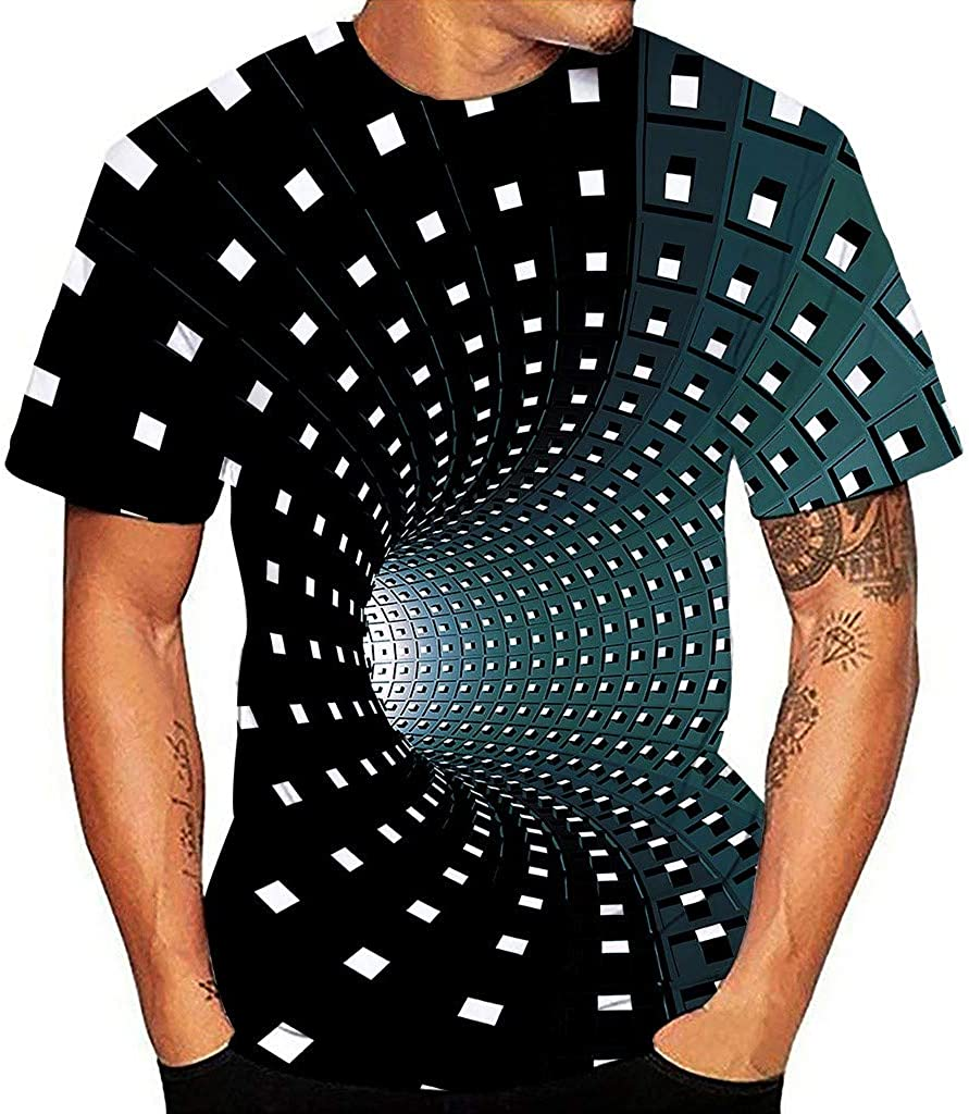 Bravetoshop Men's 3D Pattern Printed Short Sleeve T-Shirts Fashion Casual Top Blouse for Unisex Summer Novelty Colorful Graphic Funny Crewneck Tee Shirts Men New Year's Day Shirt 0929 Light Blue