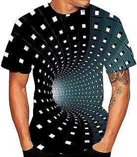 Moda Camiseta Manga Corto Hombre Y Mujer,Nuevo DiseñO Unisex 3D ImpresióN Gradiente Cuello Redondo Camisa De Manga Corta B...