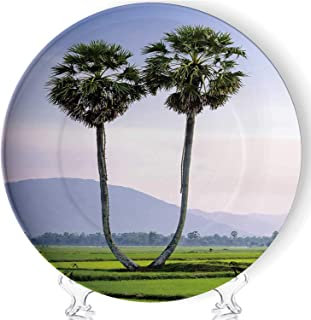 Palmyra Trees on The Rice Field Art Fashion Decorative Ceramic Plates Display Plate Crafts,with Stand,for Living Room of The Home,8''