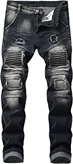 Men's Ripped Slim Straight Fit Biker Jeans with Zipper