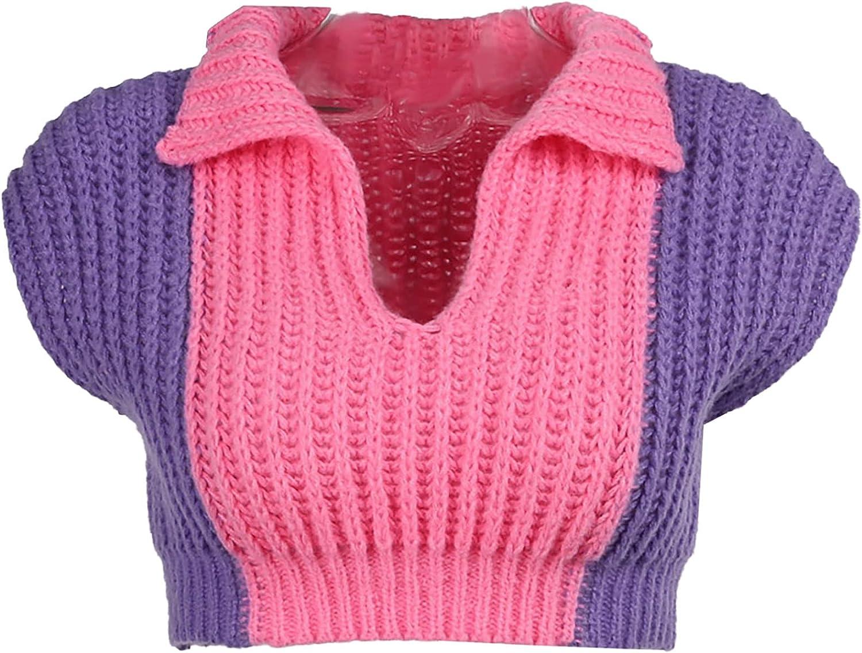 Moily Y2k Patchwork Mini Sweater Vest Women Lapel V-Neck Cap Sleeve Cropped Tops E-Girls Streetwear