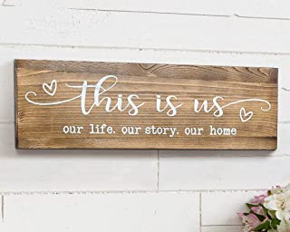This is Us Our Life Our Story Our Home Rustic Wood Wall Sign 6x18 Brown