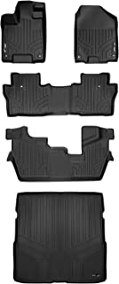MAXLINER Custom Fit Floor Mats 3 Rows and Cargo Liner Behind 2nd Row Set Black for 2016-2019 Honda Pilot 8 Passenger Model