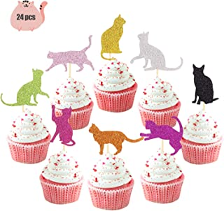 Cat Cupcake Toppers Shiny Kitty Pet Decorations for Birthday Baby Shower Kid's Party Wedding Engagement Decors 24pcs