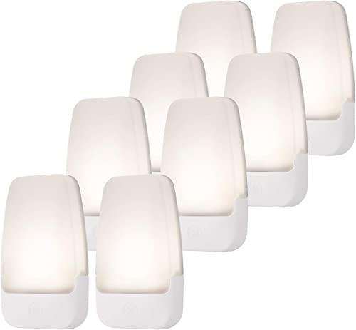 GE Automatic LED Night Light, 8 Pack Plug-in, Dusk-to-Dawn Sensor, 3000K, Décor, Ideal for Home Office, Bedroom, Nurs...