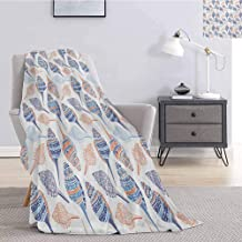 Luoiaax Ocean Rugged or Durable Camping Blanket Marine Life Themed Abstract Seashells Scallops with Bohemic Prints Warm and Washable W55 x L55 Inch Marigold Navy Blue and Blue