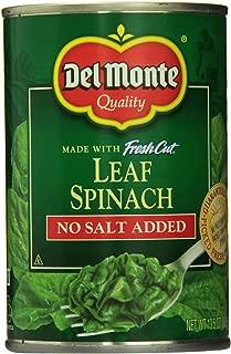 Del Monte No Salt Added Leaf Spinach (Pack of 6) 13.5 oz Cans