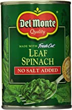 Del Monte No Salt Added Leaf Spinach (Pack of 6) 13.5 oz Cans