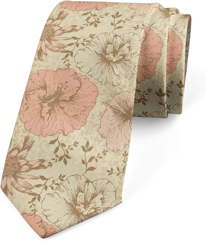 Ambesonne Necktie, Exotic Hibiscus Plant, Dress Tie, 3.7