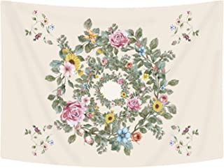 Ice jazz Floral Tapestry Bright Green Flower Wall Tapestry Wildflower Wreath Wall Hanging for Living Room Decor (Flower, 51ʺ × 59ʺ)
