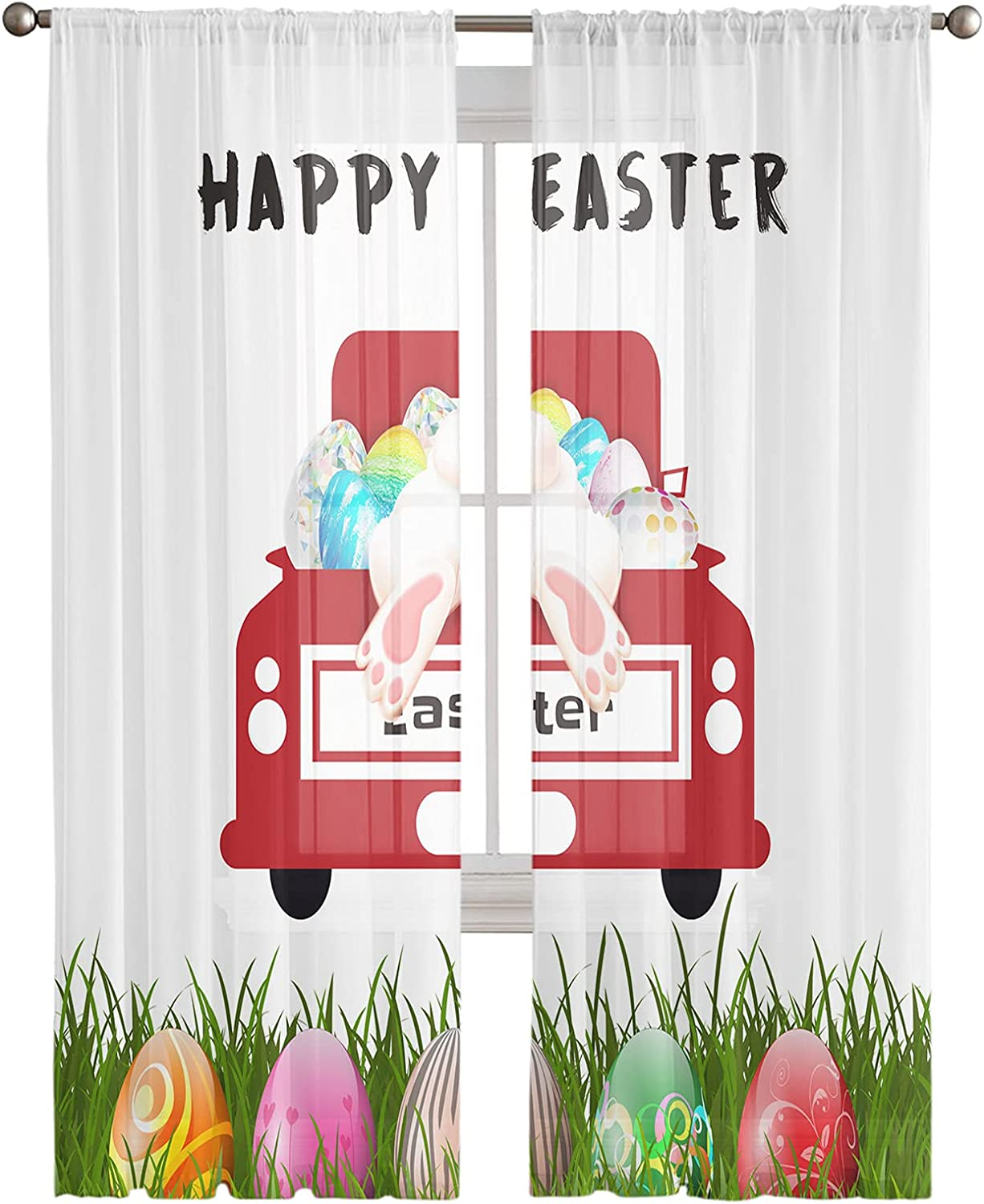 Voile Sheer Curtain Panels Save money 108inches Columbus Mall Easter Long Rod Happy Poc