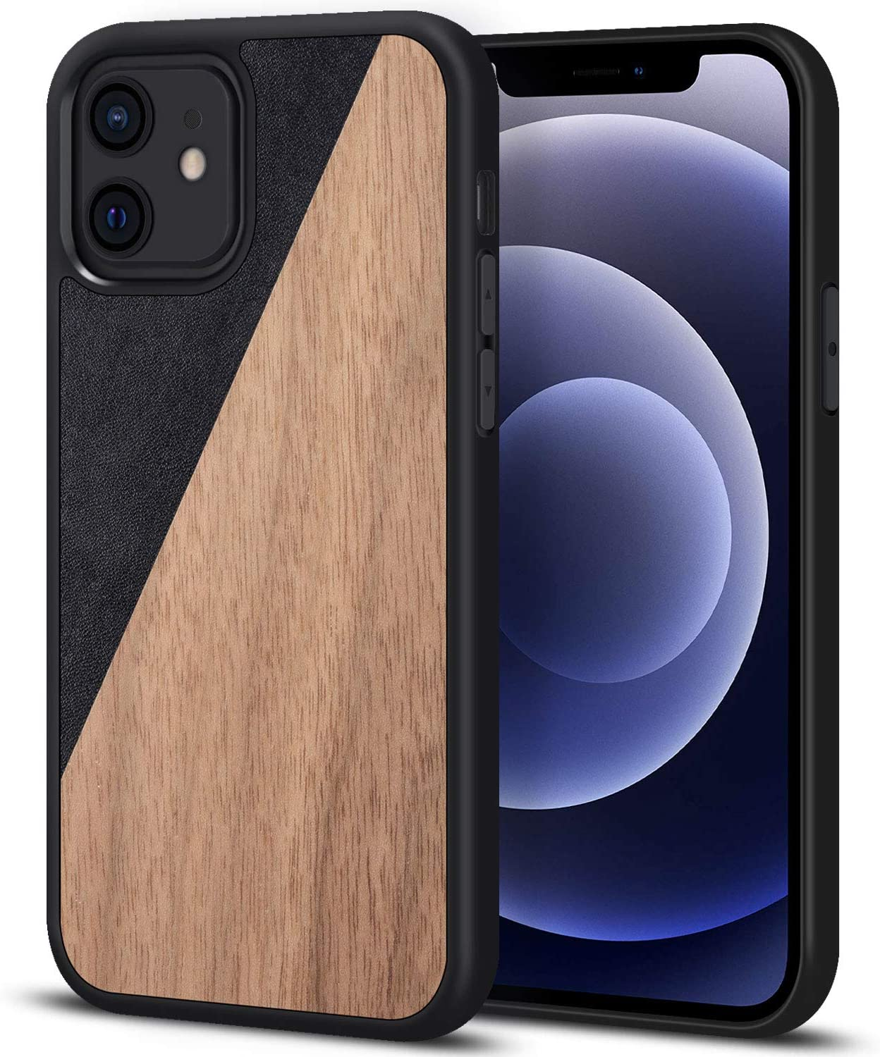 JUBECO Wood iPhone 12 Mini Case, Natural Slim Eleghant Wooden Protective Cover with Rubber Bumper for iPhone 12 Mini (Walnut-Leather)