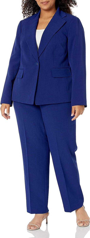 Le Suit Women's Plus Size 1 Button Notch Collar Stretch Crepe Slim Pant Suit