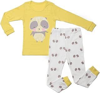 OllCHAENGi Little Boys Girls Kids Cotton Pajama Sleepwear Set Long Sleeve 18M-12Y Panda Lemon