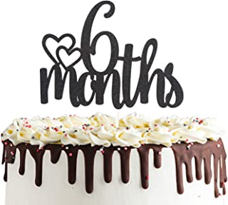 6 Months Half Birthday Cake Topper Double Sided Black Glitter 1/2 Birthday Baby Shower Party Decorations
