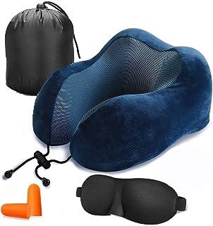RUYE Travel Pillow Pure Memory Foam Neck Pillow - Machine Washable, Airplane Travel Kit with 3D Sleep Mask & Earplugs Blue