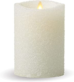 Luminara Flameless Pillar Candle (White Glitter, 5-Inch Tall); Battery-Operated LED Candle with Remote, Great for Christmas and Holidays