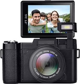 Digital Camera,Vlogging Camera 24MP YouTube Camera with 3.0 Inch 180 Degree Flip Screen Digital Zoom Camera with LED Fill Light