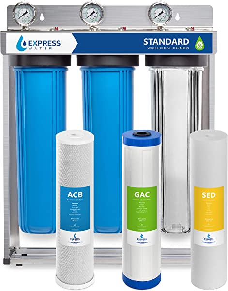 Express Water Whole House Water Filter 3 Stage Home Water Filtration System Sediment Charcoal Carbon Filters Includes Pressure Gauges Easy Release And 1 Inch Connections