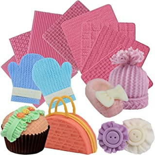 Funshowcase Weave Knitting Silicone Mold Texture Stamp Mat 8-in-Set Bundle for Sugarcraft Cake Border Decoration, Cupcake Topper, Polymer Clay, Soap Wax Making Crafting Projects