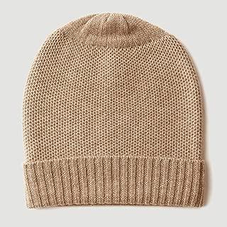 Graceful Pure Cashmere Knit Hat Dome Hat Autumn and Winter Warm Cashmere Knit Cuffs (23 * 25cm) (Color : Brown)