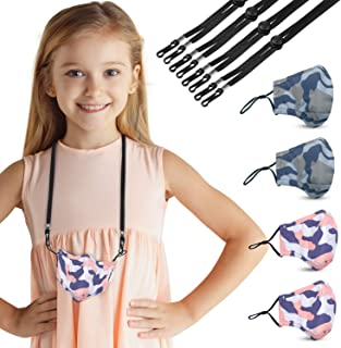 Camooo Kids Face Mask 4 Pack with 4 Mask Lanyards Black - Cotton Masks - Washable, Reusable, Breathable, Adjustable - for ...