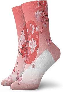 QUEMIN, Calcetines cortos deportivos japoneses con flores de cerezo y mariposas de montaña, sol, 30 cm / 11,8 pulgadas, adecuados para hombres y mujeres
