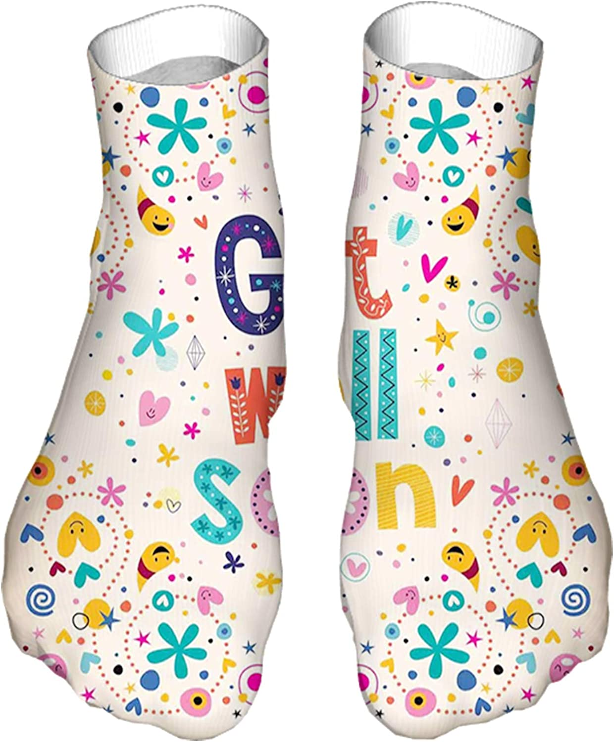 Men's and Women's Funny Casual Socks Get Well Soon Inspirational Positive Message Wish Cartoon