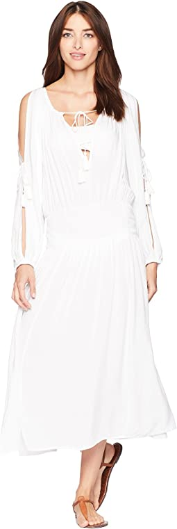 Twisted Rope Midi Dress Cover-Up w/ Rope Ties & Tassels